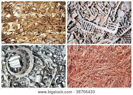 Set of metal copper brass steel scrap materials recycling background of punching waste