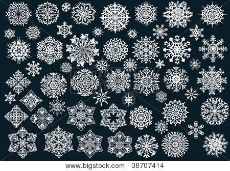 white snowflakes collection on black background