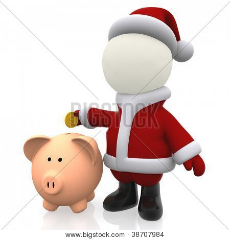 3D Santa Claus saving money in a piggybank - isolated over white