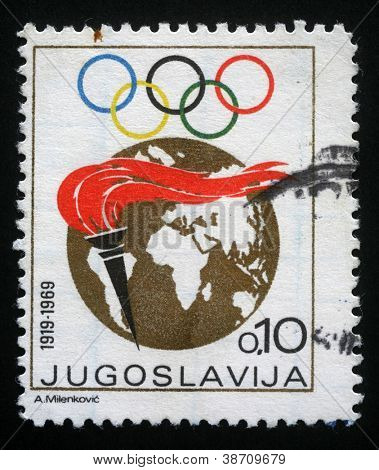 YUGOSLAVIA CIRCA 1969: A stamp printed in Yugoslavia dedicated to the fiftieth anniversary of the Yugoslav Olympic Committee, circa 1969