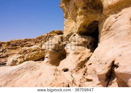 Landscape, Limestone Precipice With Cave