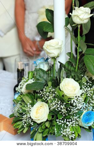Beautiful bouquet of flowers ready for the big wedding ceremony selective focus