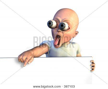Bebé sorprendió con el borde de la muestra