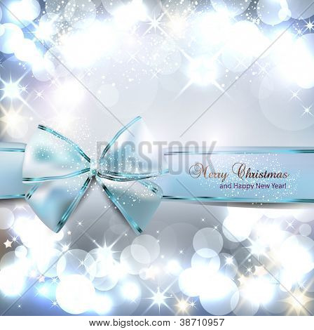 Elegant Christmas background with blue bow and place for text. Vector Illustration.