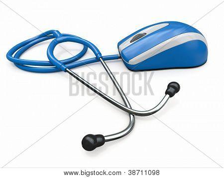 Ratón Stethscope e informática. Tecnologías médicas. 3D