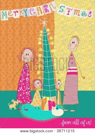 Christmas Greetings - Mom, dad and their two kids, along with a puppy and a cat wishing you a very Merry Christmas; Colorful doodle style holiday greeting, made to resemble children drawing
