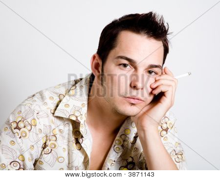 Defiant Young Man Smoking