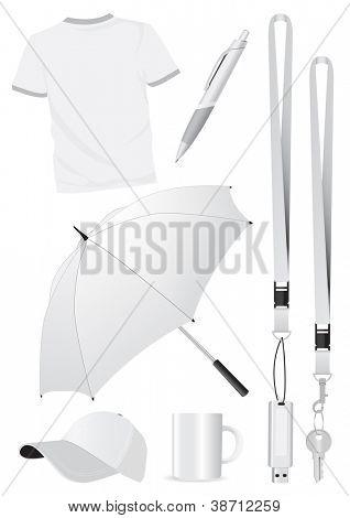Conjunto de ilustración de regalos promocionales de la maqueta en blanco. Todas las partes de vector son aisladas y agrupadas. Colo