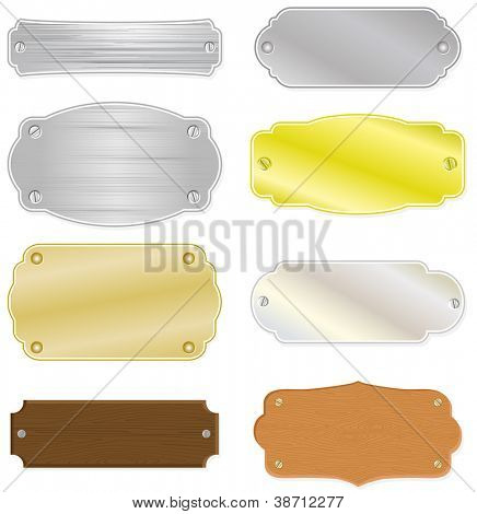 Set of 8 different house or trophy nameplates with metal and wood structure. All vector parts are isolated and grouped. Colors are easy to customize.