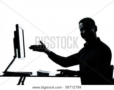 ein caucasian Business Mann Ergebnis Geste Computer EDV Silhouette Studio isolated on white