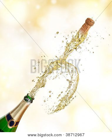 Champagne explosion with flying cork