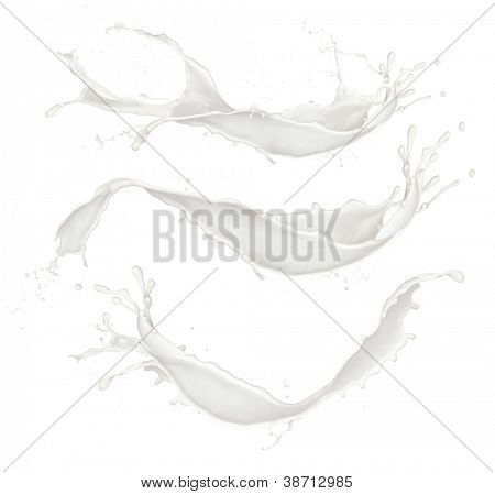Milch spritzt Sammlung, isolated on white background