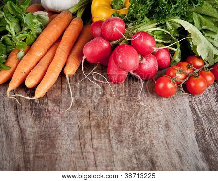 Fresh vegetable on wooden table
