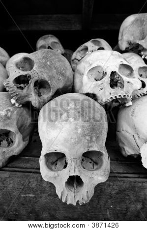 Skulls At The Killing Fields At Choeung Ek, Cambodia.