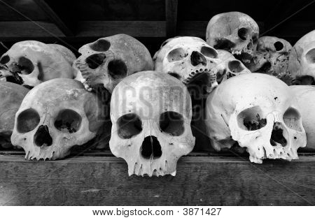 Skulls At The Killing Fields At Choeung Ek, Cambodia