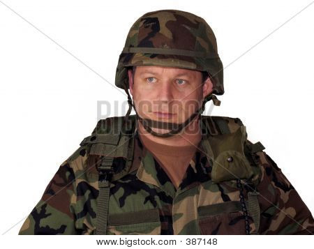 American Soldier On White