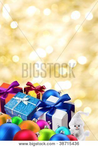 Christmas gifts and balls.