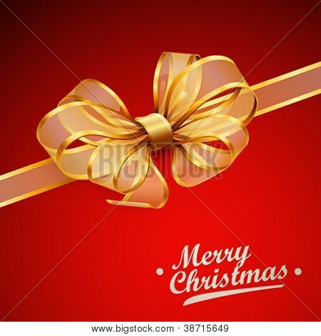 Christmas card - Golden transparent bow. Vector illustration.