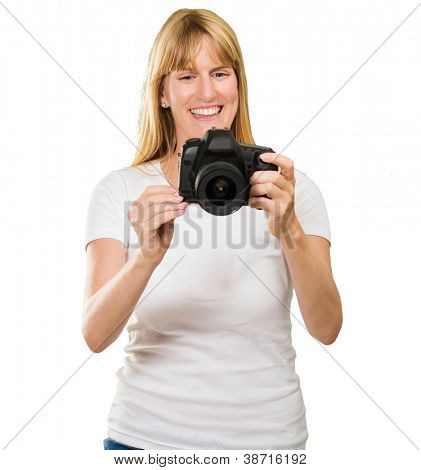Happy Young Woman Looking At Camera On White Background