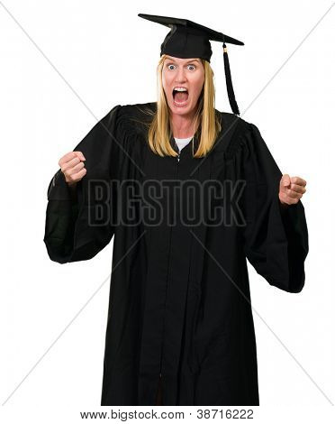 Portrait of an angry graduate against a white background