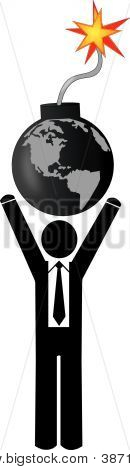 Business Arms Holding Up Globe Bomb.