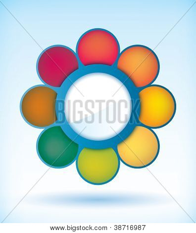 Flower presentation diagram template with eight different parts