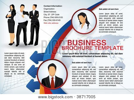 Business brochure template with avatars and abstract elements