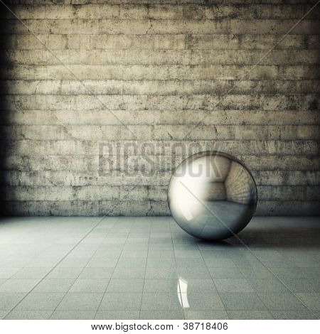 Abstract grunge interior with metallic ball