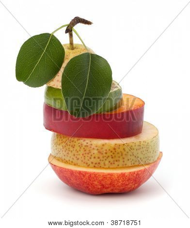 Mixed fruit slices isolated on white background