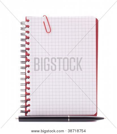 Red notebook with notice paper and pen isolated on white background cutout