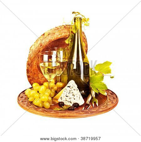 Picture of grape wine still life, bottle of vine with blue cheese and bunch of grape on platter isolated on white background, alcohol beverage, romantic dinner, vine drink, luxury organic food