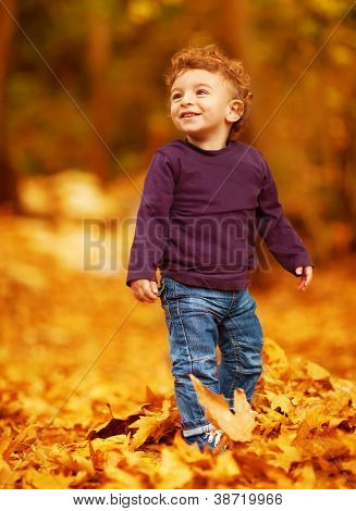 Photo of cute little boy having fun in autumn park, adorable kid playing game with dry autumnal leaves in forest, cute little toddler standing in beautiful fall woods, carefree childhood