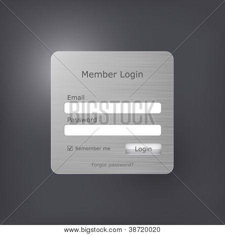 Formulário de login do vetor com textura de metal escovado