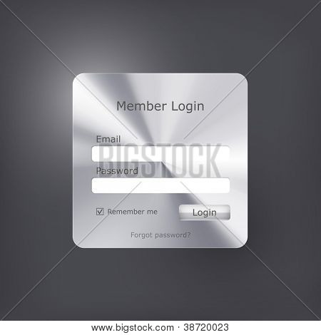 Vector login form with polished metal texture