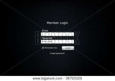 Login form page with metal cell background