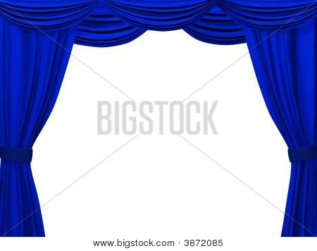 Theatrical Curtain Of Blue Color