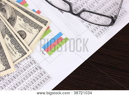 Documents, money and glasses close-up