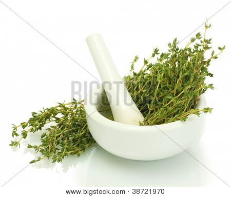 mortar with fresh green thyme isolated on white