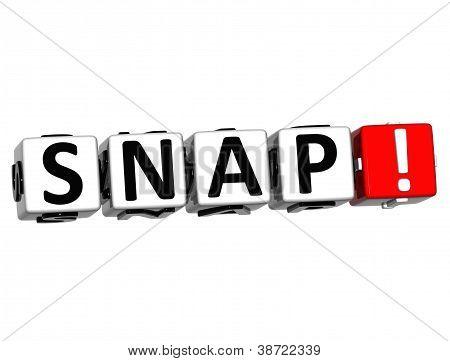 3D Snap Button Click Here Block Text