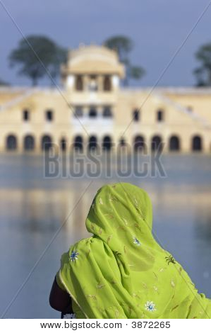 Indian Lady At The Water Palace