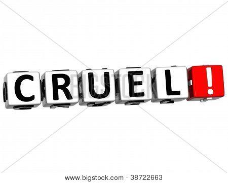 3D Cruel Button Click Here Block Text