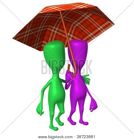View Puppets Walking In Park Under Umbrella