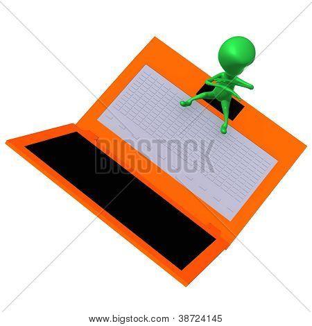View Puppet Express Fear Before Laptop Screen