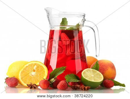 sangria in jar with fruits, isolated on white