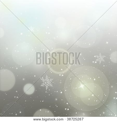 Light Silver Abstract New Year Background With White Snowflakes