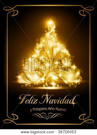 "Warmly sparkling Christmas tree light effects on dark brown background with the text ""Feliz Navidad y Pr�?�³spero A�?�±o Nuevo"", Spanish for ""Merry Christmas and a Happy New Year""."