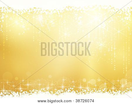 Golden background for Christmas and other festive occasions. Sparkling stars give it a magical feeling for the festive season to come.