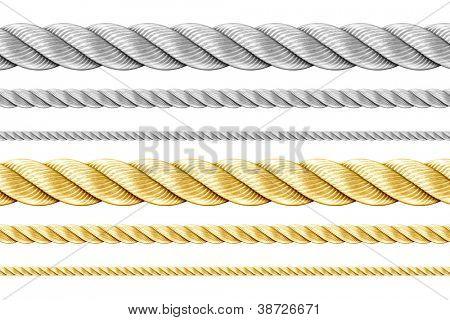 Conjunto de cuerdas de acero y oro aislado en blanco