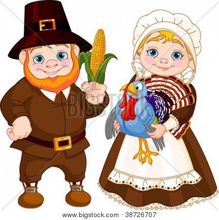 Illustration of Cute Pilgrims Couple