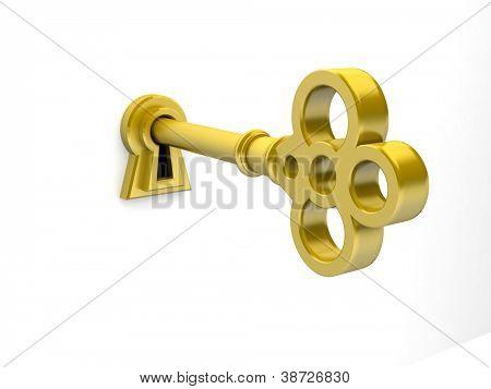 3D render de una llave de oro en el ojo de la cerradura.